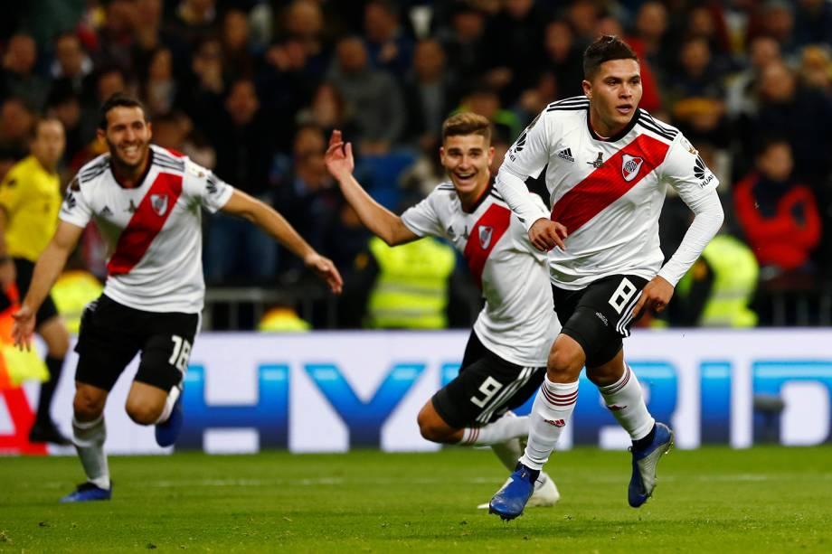 Juan Quintero do River Plate comemora segundo gol da partida contra o Boca Juniors em Madri, Espanha - 09/12/2018
