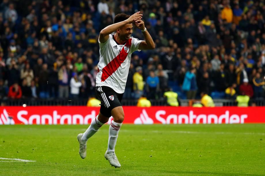Gonzalo Martinez do River Plate comemora terceiro gol da partida contra o Boca Juniors em Madri, Espanha - 09/12/2018