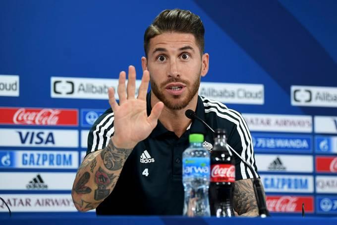 Sergio Ramos durante coletiva de imprensa do Real Madrid
