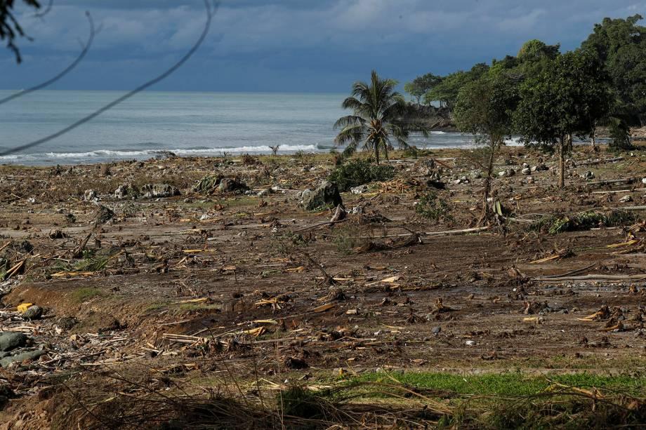 Entulho e detritos são vistos sobre uma praia em Sumur, na província de Banten, na Indonésia, após a destruição do tsunami - 26/12/2018