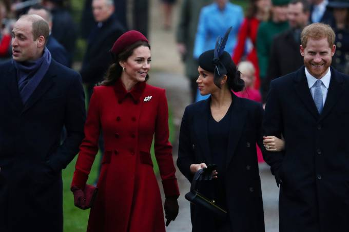 Members of Royal family arrive at St Mary Magdalene's church for the Royal Family's Christmas Day service on the Sandringham estate in eastern England