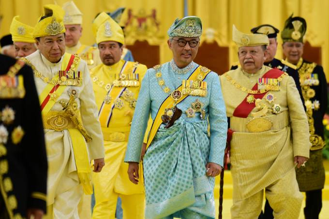 Malaysia's new King Sultan Abdullah Sultan Ahmad Shah leaves after taking oath at National Palace in Kuala Lumpur