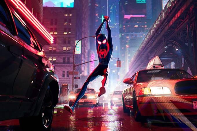 Cena da animação Homem-Aranha no Aranhaverso