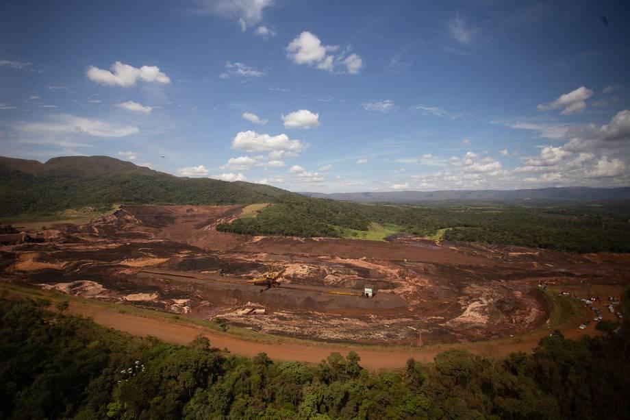 Vista aérea de local destruído por rejeitos após o rompimento da barragem da mina do Feijão em Brumadinho, na região metropolitana de Belo Horizonte, Minas Gerais - 25/01/2019