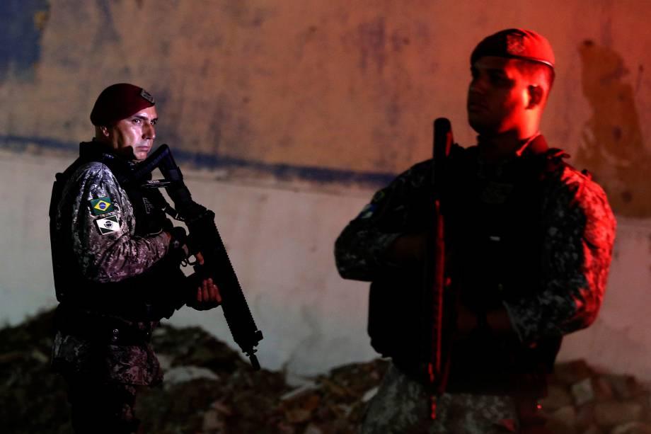 Oficiais da Força Nacional de Segurança Pública  patrulham o bairro de Pajuçara em Fortaleza, Ceará - 07/01/2019