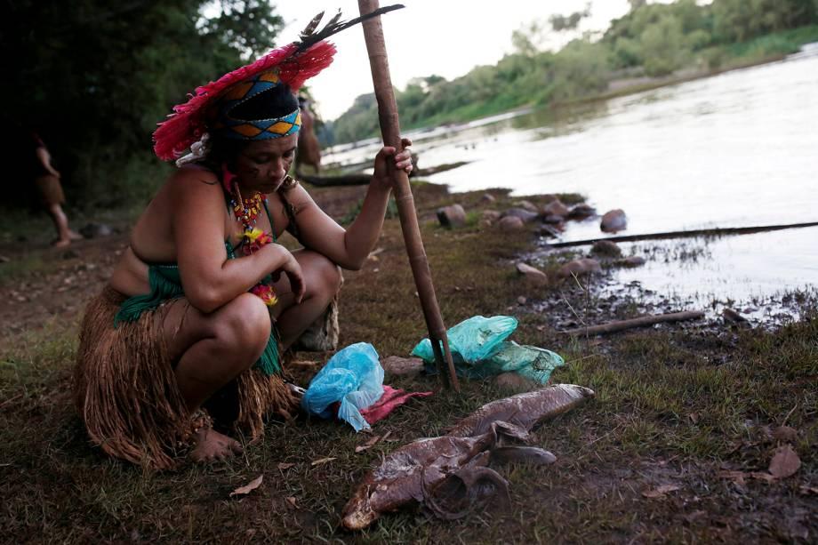 Uma indígena da tribo Pataxo Ha-ha-hae observa peixes mortos perto do rio Paraopeba, depois do rompimento de uma barragem de rejeitos da mineradora brasileira Vale SA, em São Joaquim de Bicas, perto de Brumadinho, Minas Gerais - 28/01/2019