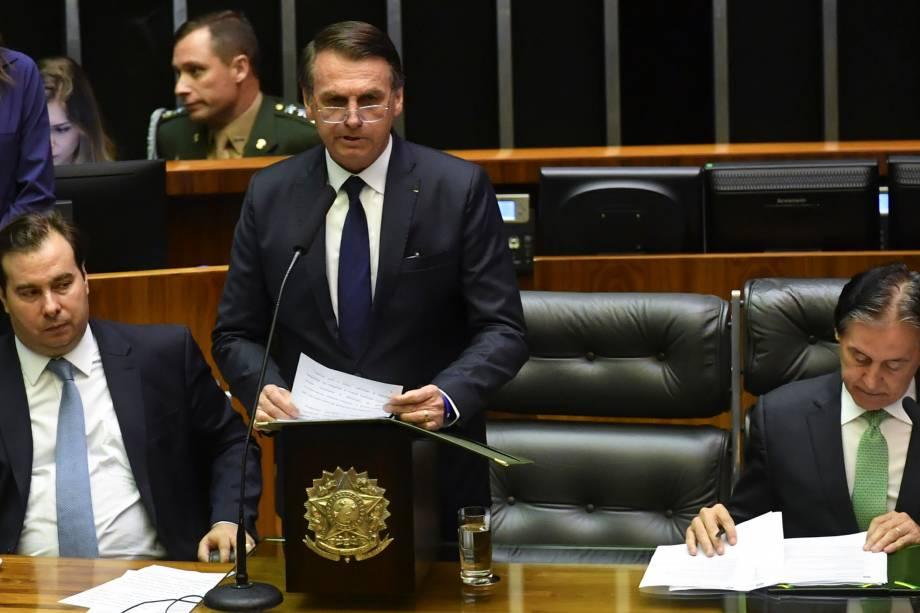 O presidente Jair Bolsonaro discursa durante cerimônia de posse em Brasília - 01/01/2018