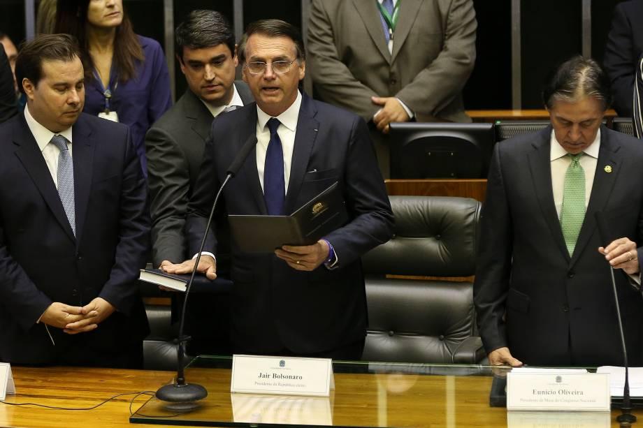 Jair Bolsonaro toma posse como presidente da República em cerimônia  no Congresso Nacional - 01/01/2018
