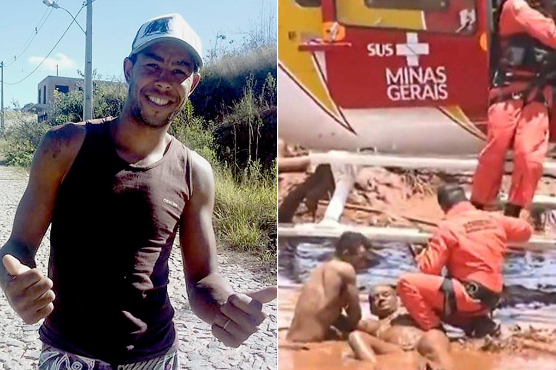 O bombeiro hidráulico Jefferson Ferreira dos Passos nadou na lama em busca da irmã e salvou a vida de Alessandra e Thalyta