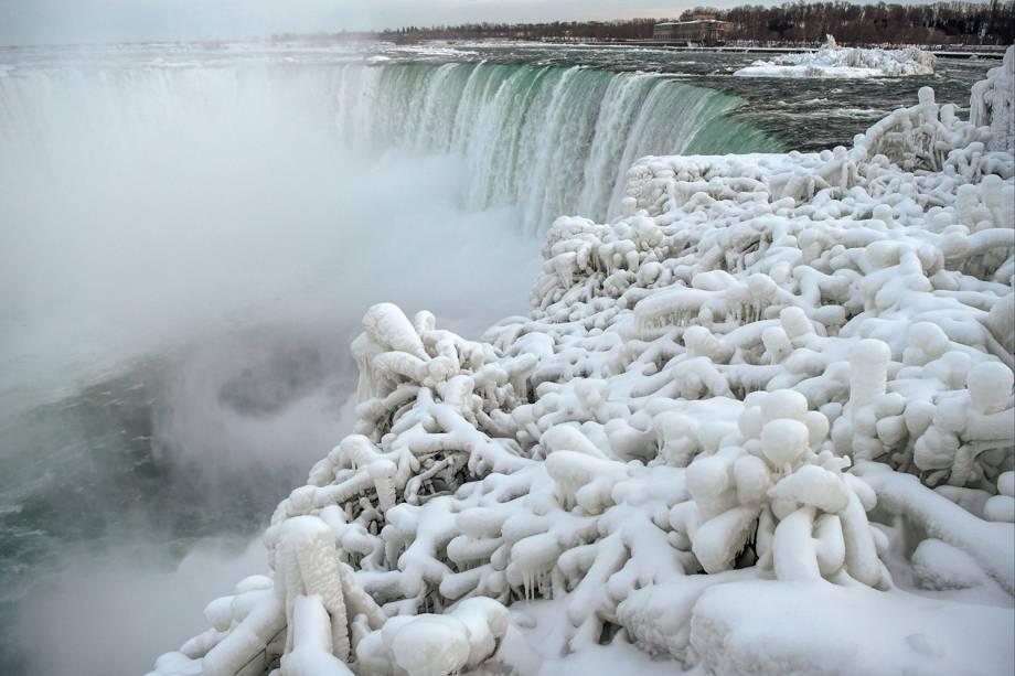 Camada de gelo cobre arbustos no lado canadense das Cataratas do Niágara em Ontário - 23/01/2019