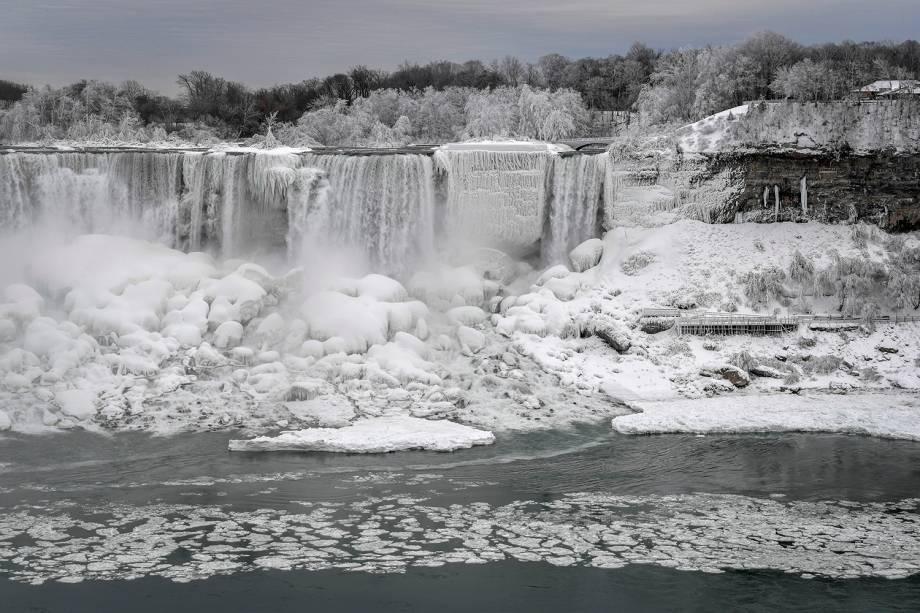 As águas do Rio Niagara correm ao redor de pedras e plantas congeladas após uma frente fria em Ontario, no Canadá - 23/01/2019