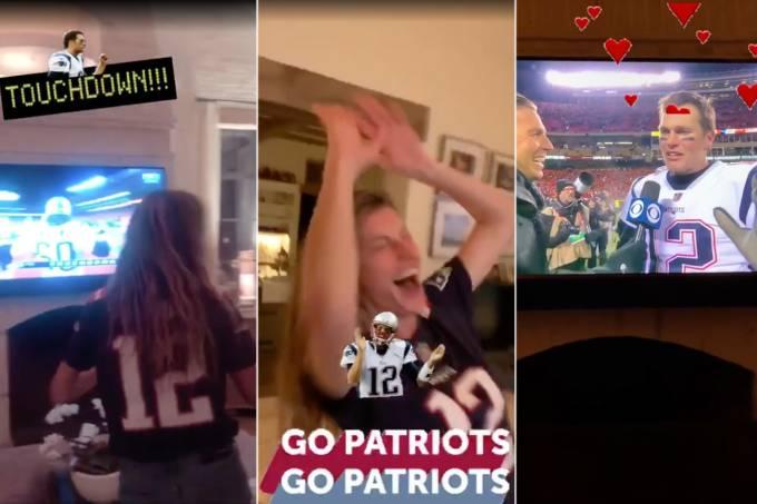 Gisele Bundchen comemorando a vitória do New England Patriots