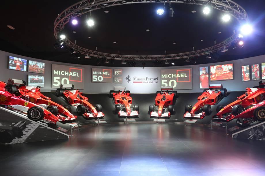 Museu da Ferrari realiza exposição para celebrar os 50 anos de Michael Schumacher em Maranello, na Itália