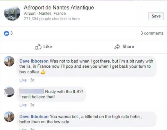 Conversa entre Dave Ibbotson, o piloto do avião, e um amigo