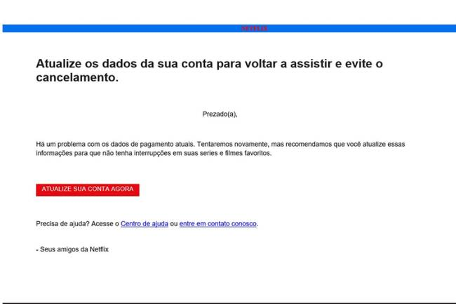 E-mail malicioso contém três links. Ao clicar em qualquer um deles, a vítima cai no golpe