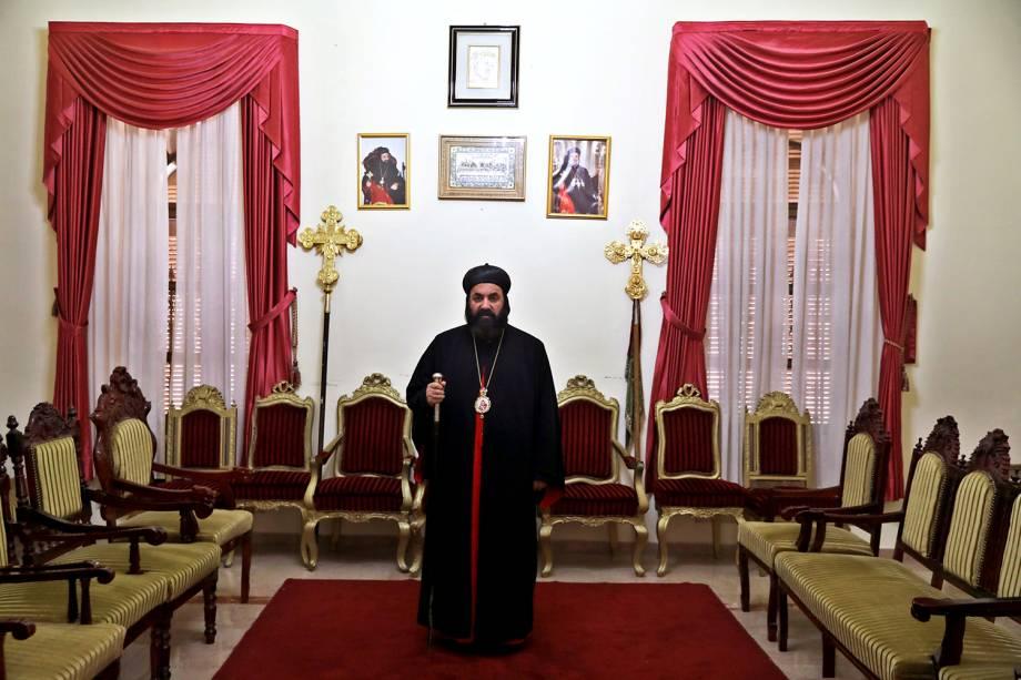 Sua Eminência, Mar Swerios Malki Murad, Arcebispo Vigário Patriarcal da Terra Santa e da Jordânia, posa para uma fotografia no Patriarcado da Igreja Ortodoxa na Cidade Velha de Jerusalém - 14/03/2018