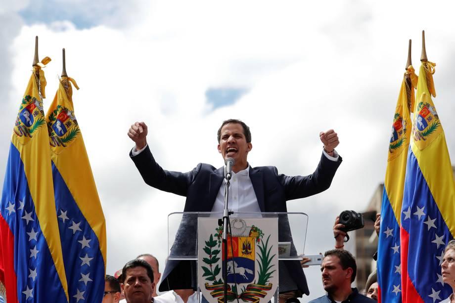 Juan Guaidó, presidente da Assembleia Nacional Venezuela, participa de marcha contra o presidente Nicolás Maduro, em Caracas - 23/01/2019