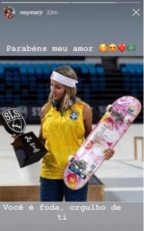 Neymar enviou os parabéns a Letícia Bufoni nas redes sociais