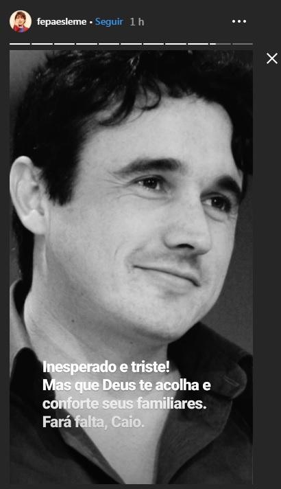 Mensagerm postada por Fernanda Paes Leme no Instagram sobre Caio Junqueira