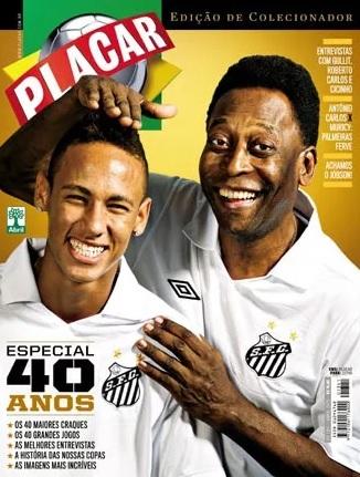 Capa de Placar de 40 anos com Neymar e Pelé