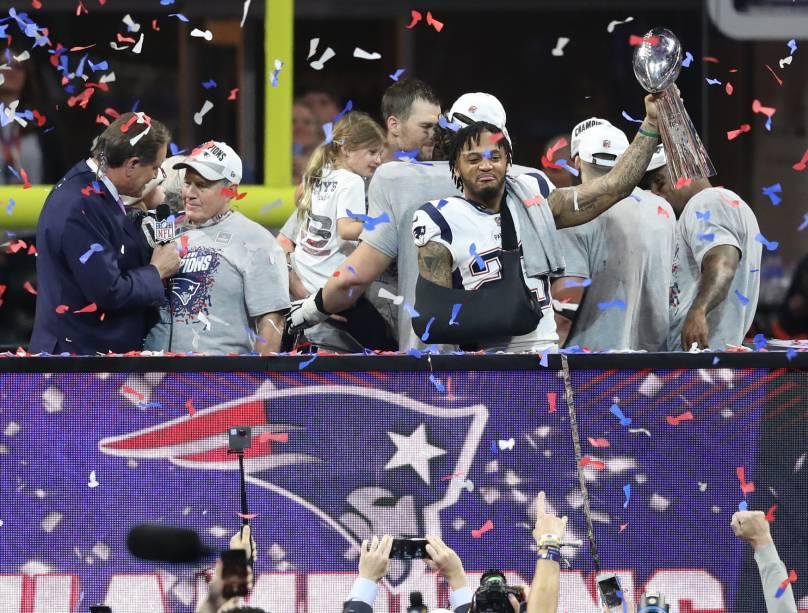 Jogadores celebram a conquista do New England Patriots