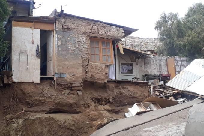 Casas destruídas em Conchi Viejo, no Chile, por causa das fortes chuvas que atingiram a região – 5 de fevereiro de 2019