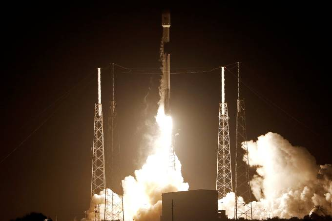 A SpaceX Falcon 9 rocket carrying Israel's first spacecraft designed to land on the moon lifts off on the first privately-funded lunar mission at the Cape Canaveral Air Force Station