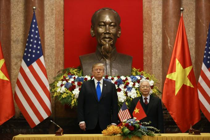 U.S. President Trump meets with his Vietnamese counterpart Nguyen Phu Trong at the Presidential Palace in Hanoi