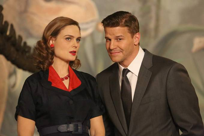 Emily Deschanel e David Boreanaz na série 'Bones', da Fox