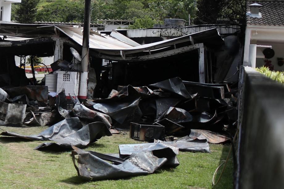Área destruída pelo fogo no centro de treinamento do Flamengo no Rio de Janeiro - 08/02/2019