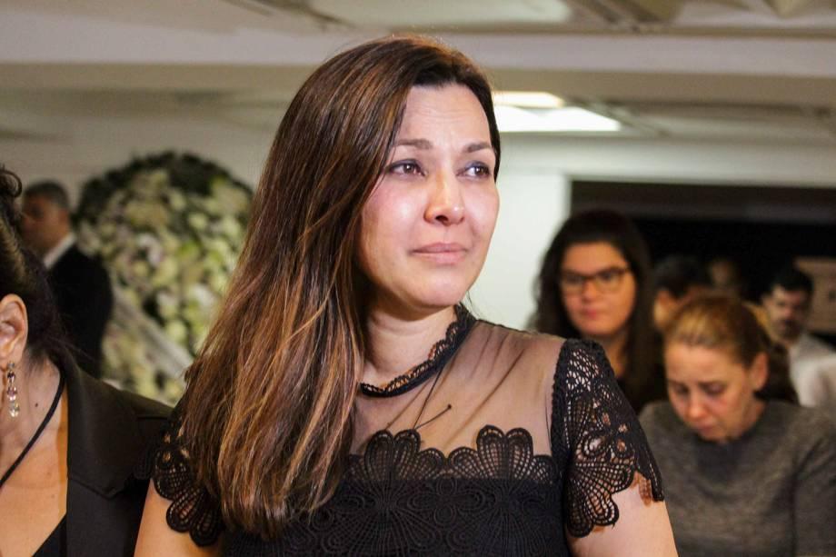 Veruska Seibel, viúva de Boechat,  durante velório corpo do jornalista Ricardo Boechat, no MIS