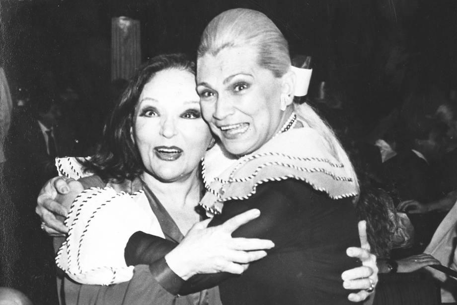 Bibi Ferreira e Hebe Camargo, na festa de 45 anos do Teatro Bibi Ferreira - 1987