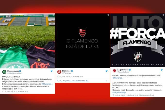 Clubes rivais e ídolos do Flamengo se solidarizam com as vítimas do incêndio no CT