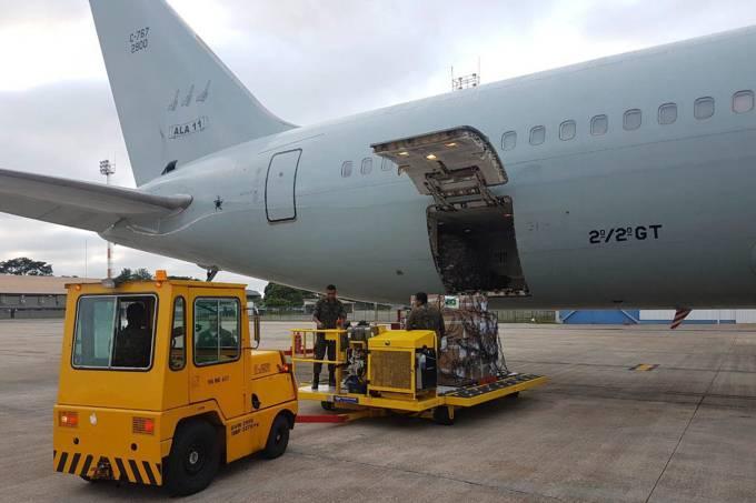 Avião da FAB que leva as doações para a Venezuela