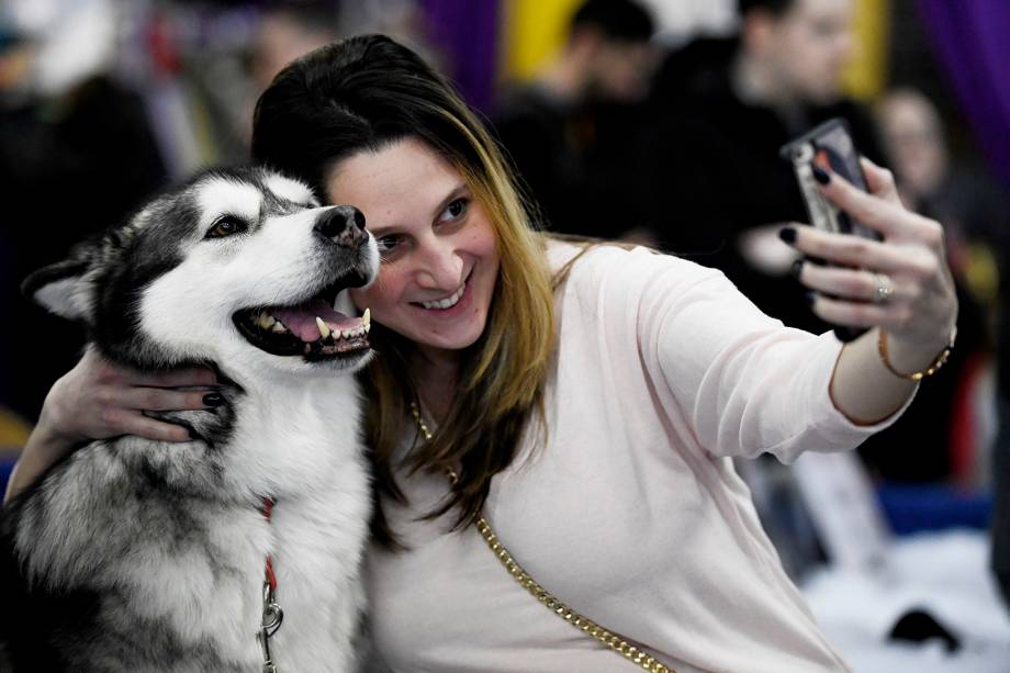 Visitante tira selfie com cão da raça Malamute do Alasca, durante o Westminster Kennel Club Dog Show, realizado em Nova York - 09/02/2019
