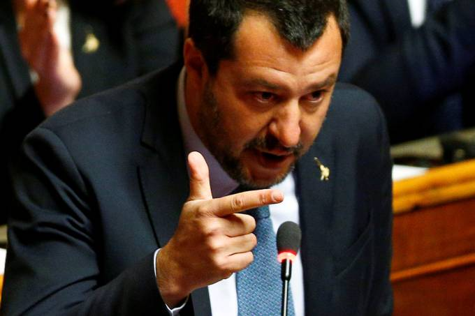 FILE PHOTO: Deputy Prime Minister Matteo Salvini speaks in the upper house of the Italian parliament, in Rome