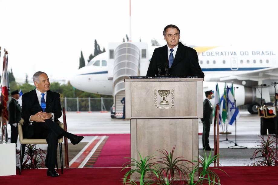 O primeiro-ministro de Israel, Benjamin Netanyahu, ouve discurso do presidente Jair Bolsonaro: fortalecimento de relações bilaterais - 31/03/2019