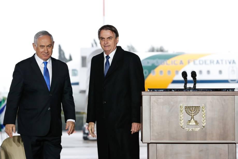 O primeiro-ministro de Israel, Benjamin Netanyahu, recebe o presidente Jair Bolsonaro em Tel Aviv - 31/03/2019