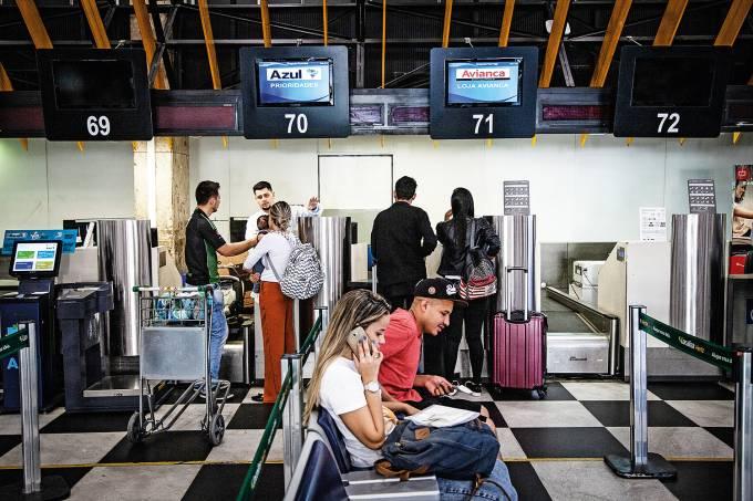 Guichês da Azul e Avianca no Aeroporto de Congonhas
