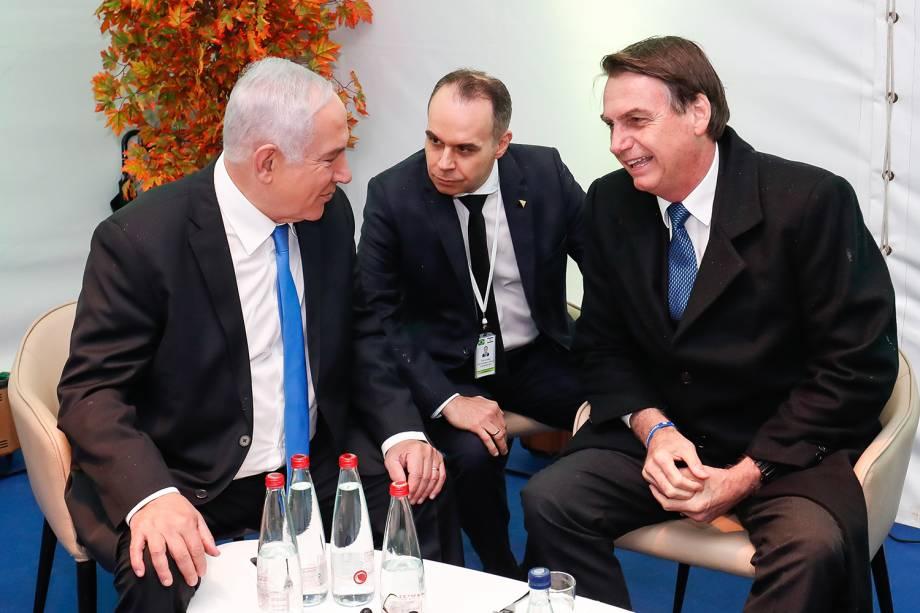 Benjamin Netanyahu e Jair Bolsonaro conversam depois da Cerimônia Oficial de chegada do presidente brasileiro à Israel - 31/03/2019