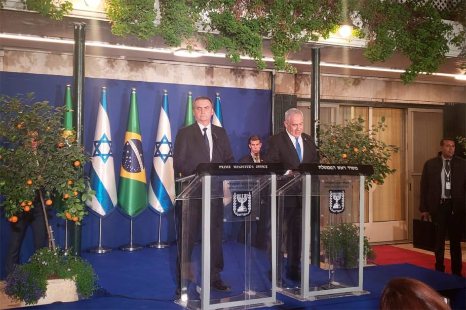 Jair Bolsonaro participa de coletiva de imprensa na residência oficial do primeiro-ministro Benjamin Netanyahu, em Jerusalém - 31/03/2019