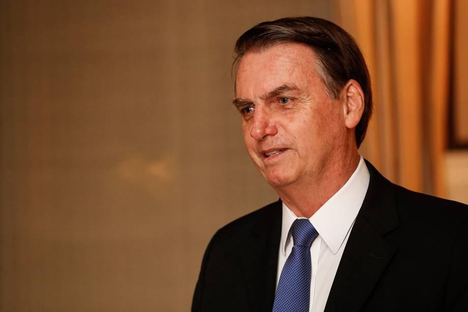 O presidente Jair Bolsonaro durante jantar com representantes do conservadorismo em Washington - 17/03/2019