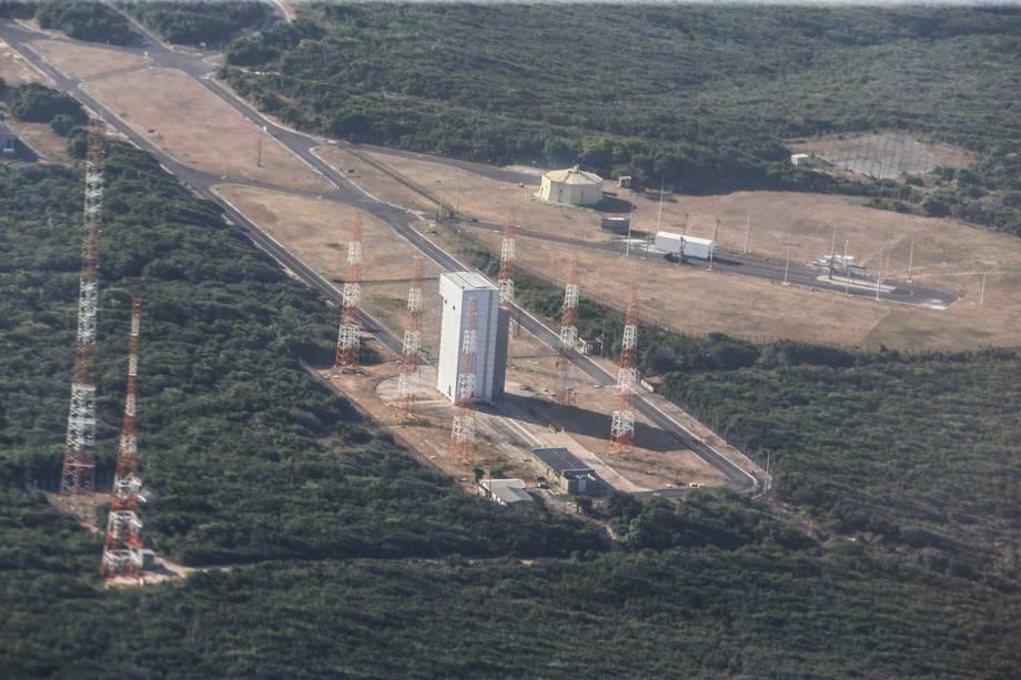 Vista aérea das instalações do Centro de Lançamento de Alcântara (CLA), no Maranhão - 14/09/2018