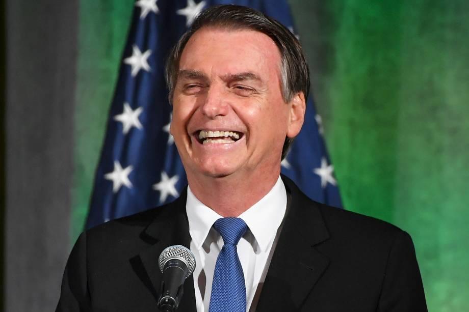 O presidente da República, Jair Bolsonaro, discursa na Câmara de Comércio dos Estados Unidos, em Washington - 18/03/2019