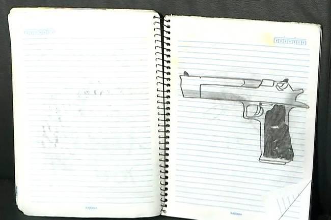 Reprodução de página do caderno de Guilherme Taucci, de 17 anos, atirador que participou de ataque a escola de Suzano