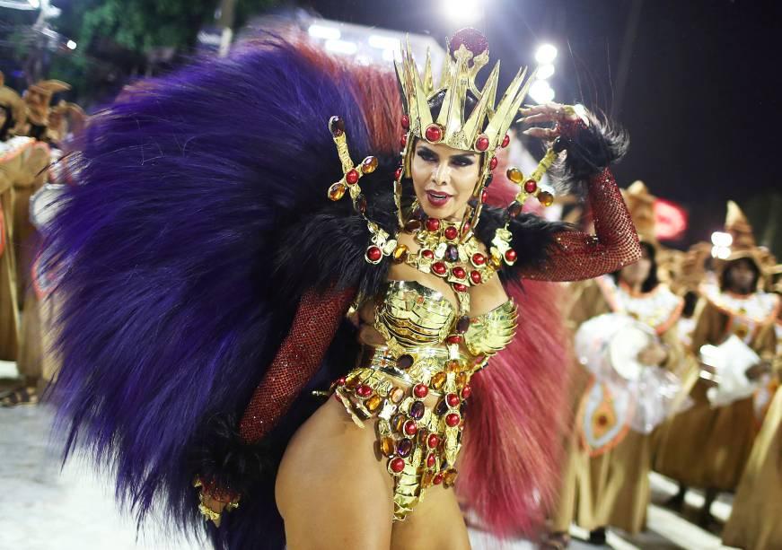 Raíssa Machado, rainha de bateria da escola de samba Unidos do Viradouro, durante desfile no Sambódromo da Marquês de Sapucaí - 04/03/2019