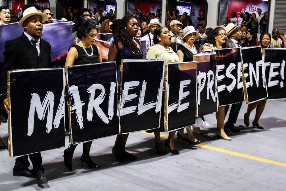 A escola de samba Vai-Vai homenageia a vereadora Marielle Franco, assassinada em março de 2018 - 03/03/2019