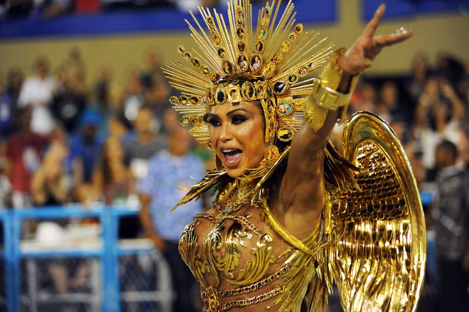 Gracyanne Barbosa, rainha de bateria da escola da samba União da Ilha, durante desfile na Marquês de Sapucaí - 05/03/2019