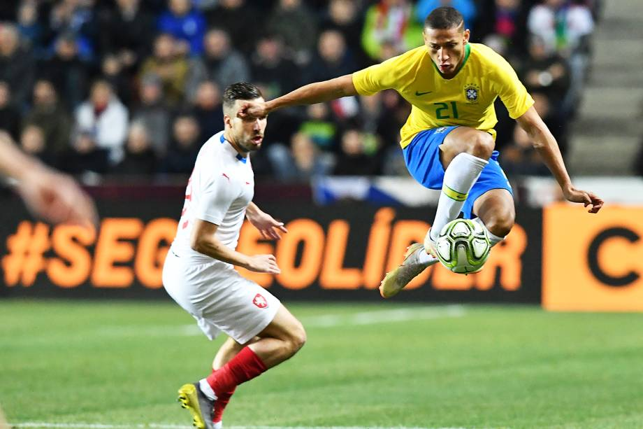O jogador Richarlison, da Seleção Brasileira, durante partida contra a República Checa, realizada em Praga - 26/03/2019