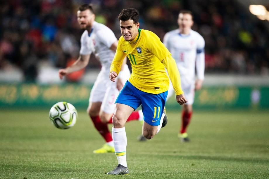 O jogador Philippe Coutinho, da Seleção Brasileira, durante partida amistosa contra a República Checa, realizada em Praga - 26/03/2019